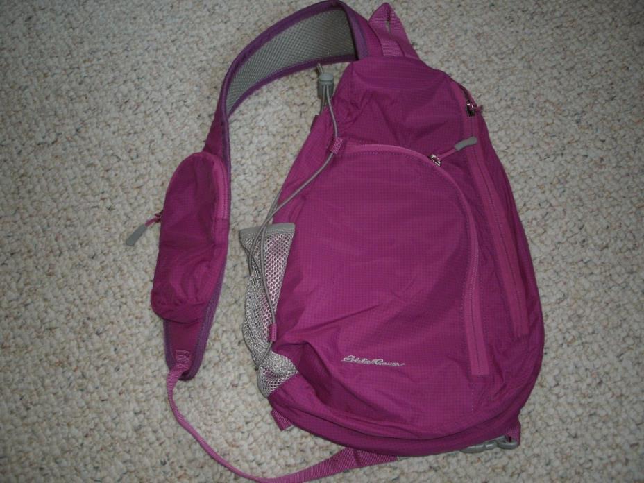 Eddie Bauer Fuchsia Pink Nylon One-Sling Backpack Healthy Handbag Purse