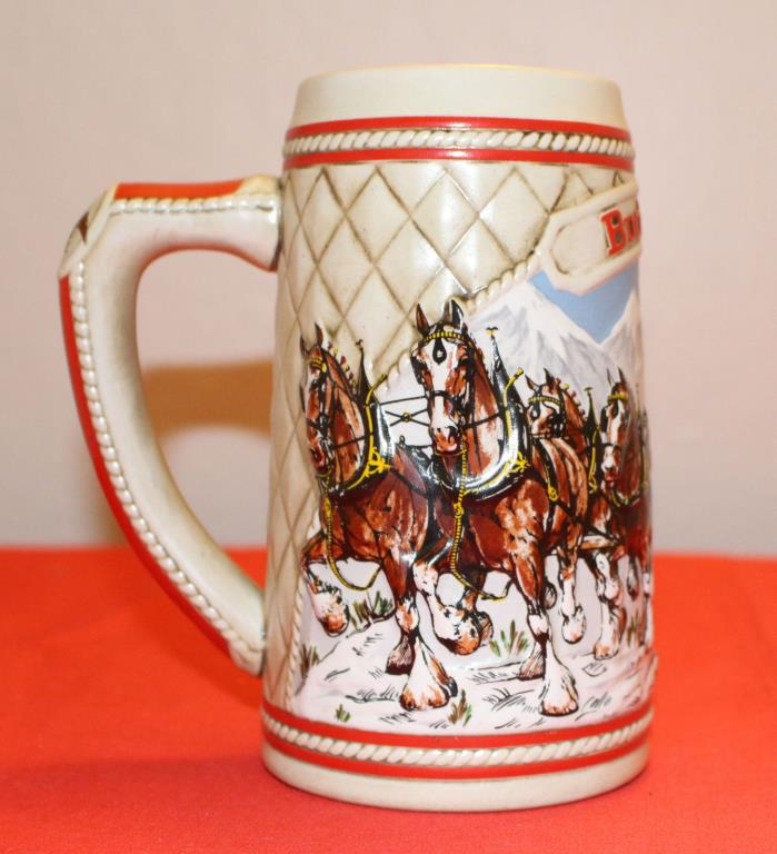 Collectible Vintage 1985 Holiday Budweiser Beer Stein Clydesdale Snowy Mountains