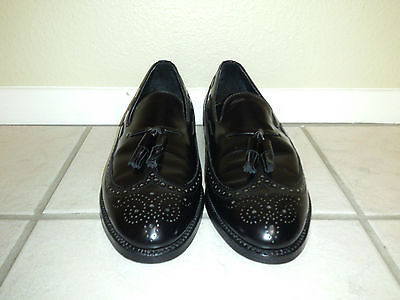 FLORSHEIM Royal Imperial Black Full Wingtips Tassel Loafers Men's US Size 10 C