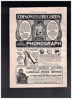 1904 Edison Gold Moulded Records and The Edison Phonograph in 1904 Half Page Ad
