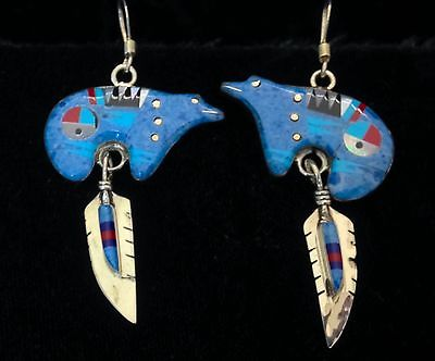 Zuni Sterling Silver & Denim Turquoise & Coral and Jet  Bear Earrings