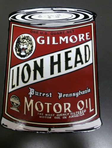 GILMORE Lion Head Can Gasoline Oil/Gasoline Porcelain Advertising Sign