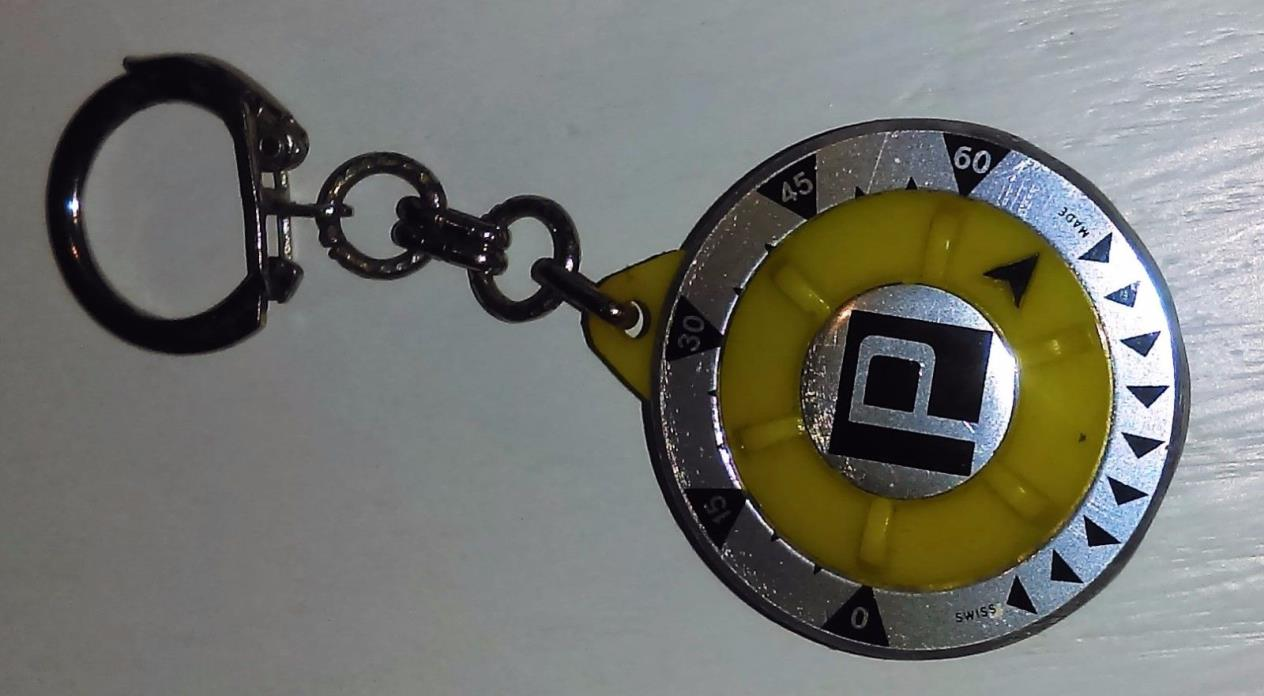 Vintage Yellow Memo Park Timer Parking Meter Reminder Keychain Swiss Made Works!