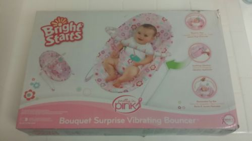 Bright Starts Bouquet Surprise Virbrating Bouncer Chair Pink