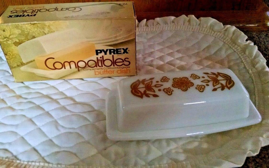 Pyrex Compatibles Corning Corelle Butterfly Gold Butter DIsh New Old Stock