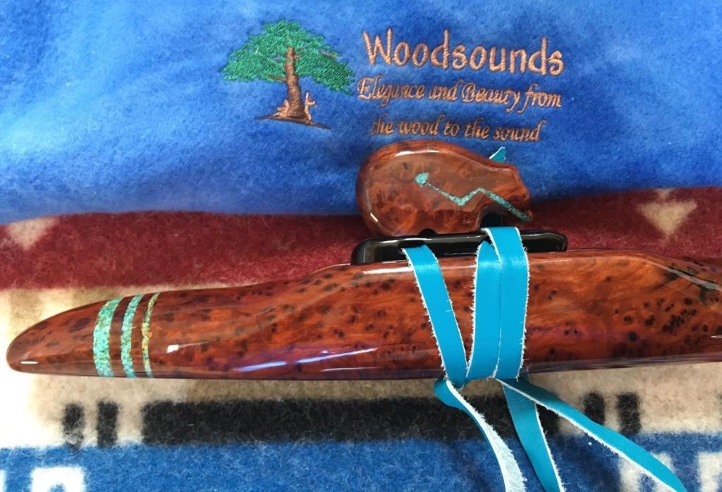 Woodsounds Custom Native American Style Flute F# Minor. Redwood Burl & Turquois