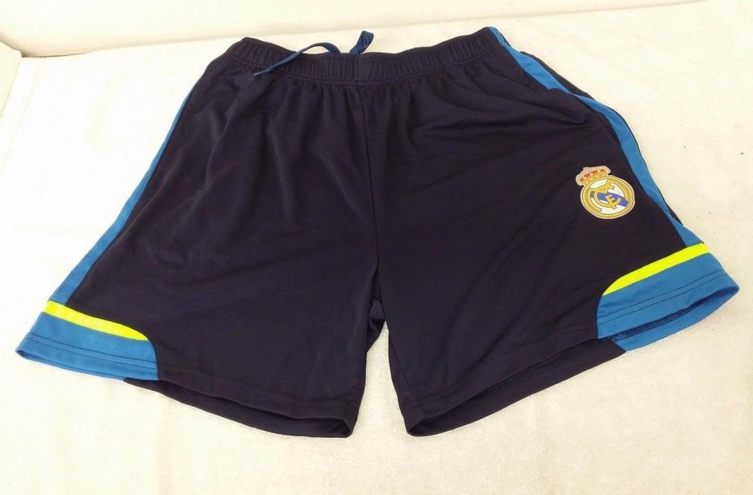 Real Madrid FC 2-Tone Color (Navy Blue, Light Blue Stripes) Men's Shorts