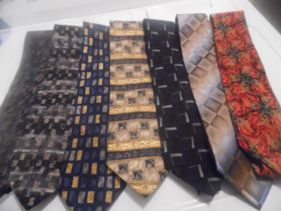 Lot of 10 Mens Dress Ties-Barrington,Fossil, Ketch, Vanheusen, Stafford & More!