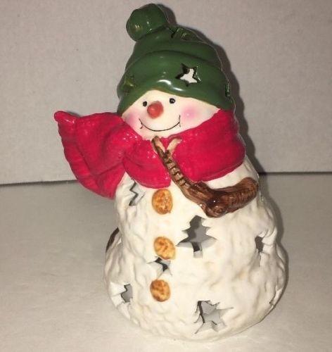 Hallmark Snowman Christmas Candle Holder Tealight Scarf Stars Hat