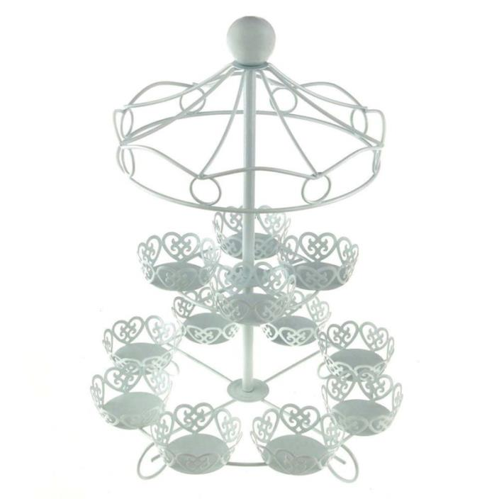 Charmed Carousel Cupcake Stand, Holds Up To 12 Cupcakes, White