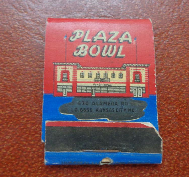 Matchbook Advertising Plaza Bowl Kansas City Mo Vintage Bowling Alley Sports Vtg