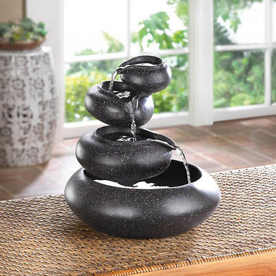 Four Tier Granite Bowls - Tabletop Fountain Cascading Water