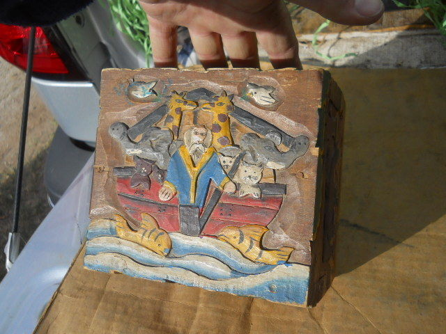 Antique Carved Wood Chest Trunk Box Hand Painted Noah's Ark Folk Art Animals