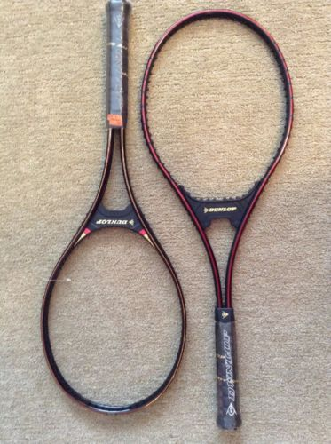 NOS Vintage Pair Dunlop Tennis Racquets Black Max Metal/Power Mid Nice Condition