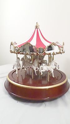 Holiday Creations Classic Christmas Carousel Deluxe Tent Like Velour Canopy
