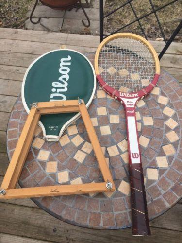 Vintage Wilson Stan Smith Capri Wood Tennis Racquet Cover And Brace 4 5/8 Grip