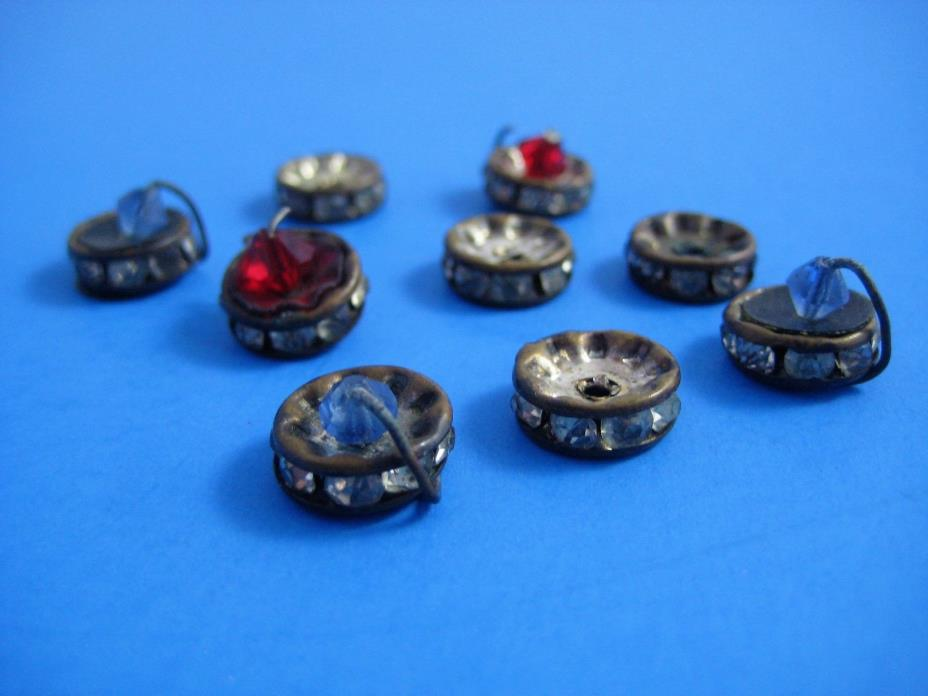 Antique Loose Spacer Beads Metal With Rhinestones Lot of 9 Vintage 1940's