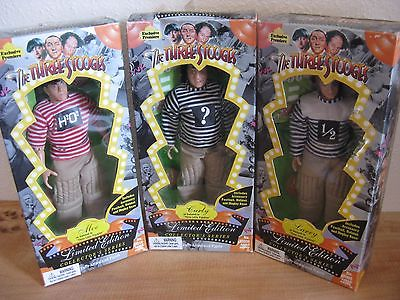 Lot of 3 THE THREE STOOGES Little Pigskins Limited Edition Doll Figure 1996