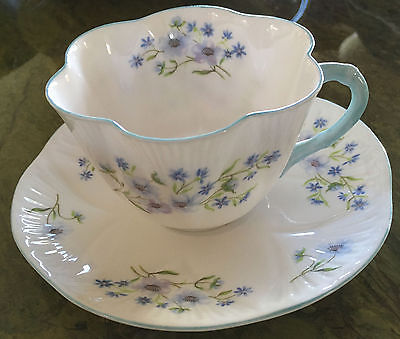 SHELLEY BLUE ROCK CUP AND SAUCER #13691