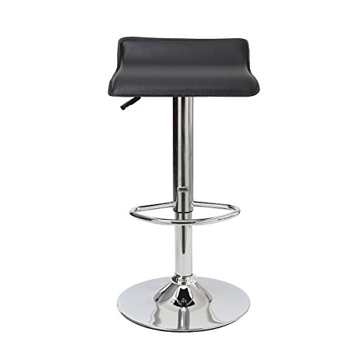 Flourish Office Adjustable Hydraulic Bar Stool Square Wave Kitchen Stool Black