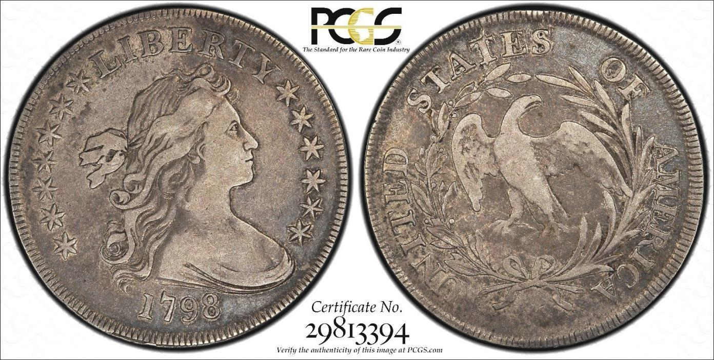 1798 SMALL EAGLE Draped bust dollar PCGS VF25 CAC...TOUGH COIN !