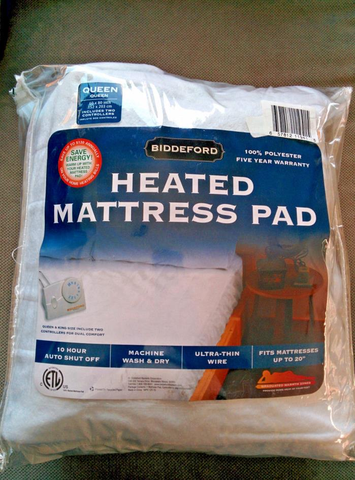 Electric Heated Mattress Pad, White, Queen with Dual Heating Controls