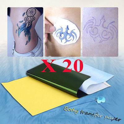 20 Sheets Tattoo Transfer Carbon Paper Supply Tracing Copy Body Stencil A4 KN