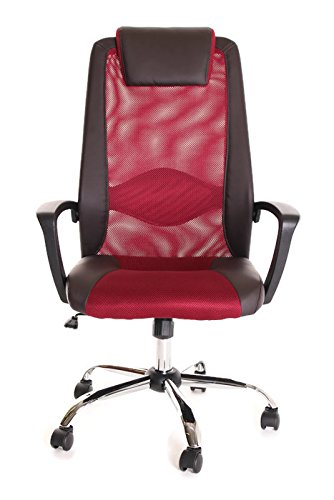 TimeOffice High Back Leather & Red Mesh Office Task Chair With Arms