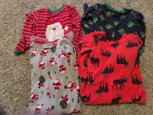 Carters Boys Pj's Sleepers 4 4T Pajamas Zip Lot of 4.