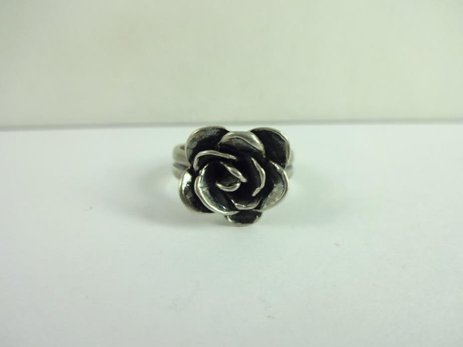 Sterling Silver SILPADA Flower Rose  Ring Size 8.25  R2207 Israel RETIRED