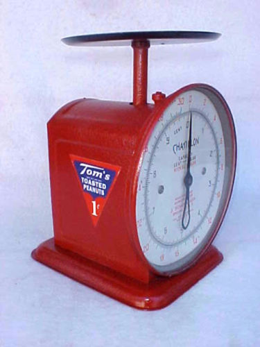 Vintage Tom's Peanut Penny / Nickel Chatillon Scale, Gumball Candy Machine,Store