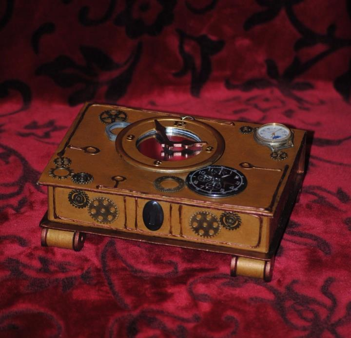 steampunk jewelry box Clocks, gears, & cogwheels. Mirror Jewelry storage vanity