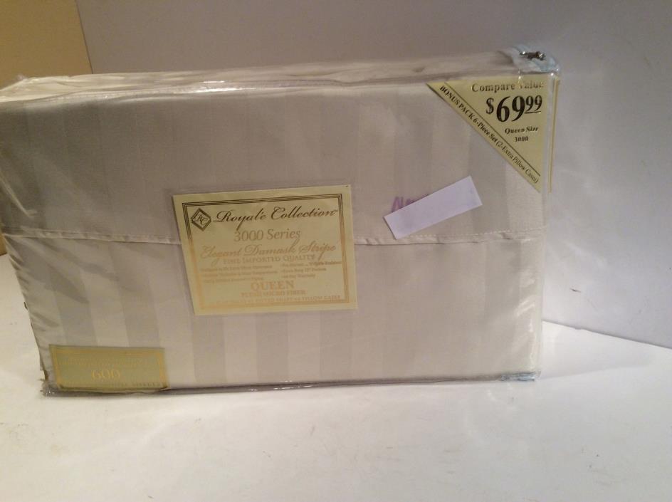Elegant Damask Stripe Queen Sheets New 600 Thread Count Bonus 6 Pieces