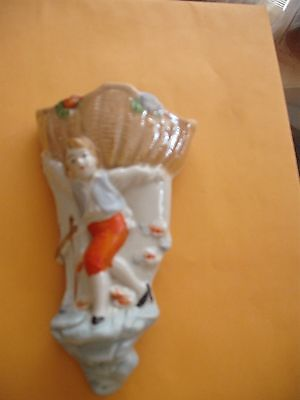 Vintage lusterware wall pocket Boy with basket