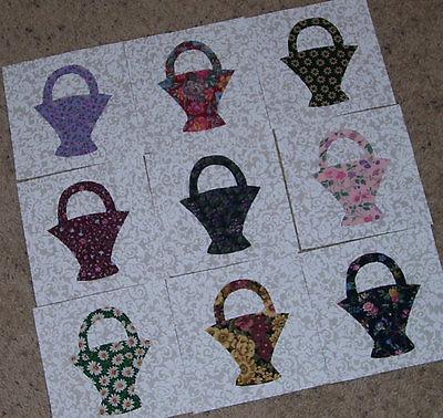 Set of 9 Basket  Applique Quilt Blocks, Floral Scrappy Fabrics