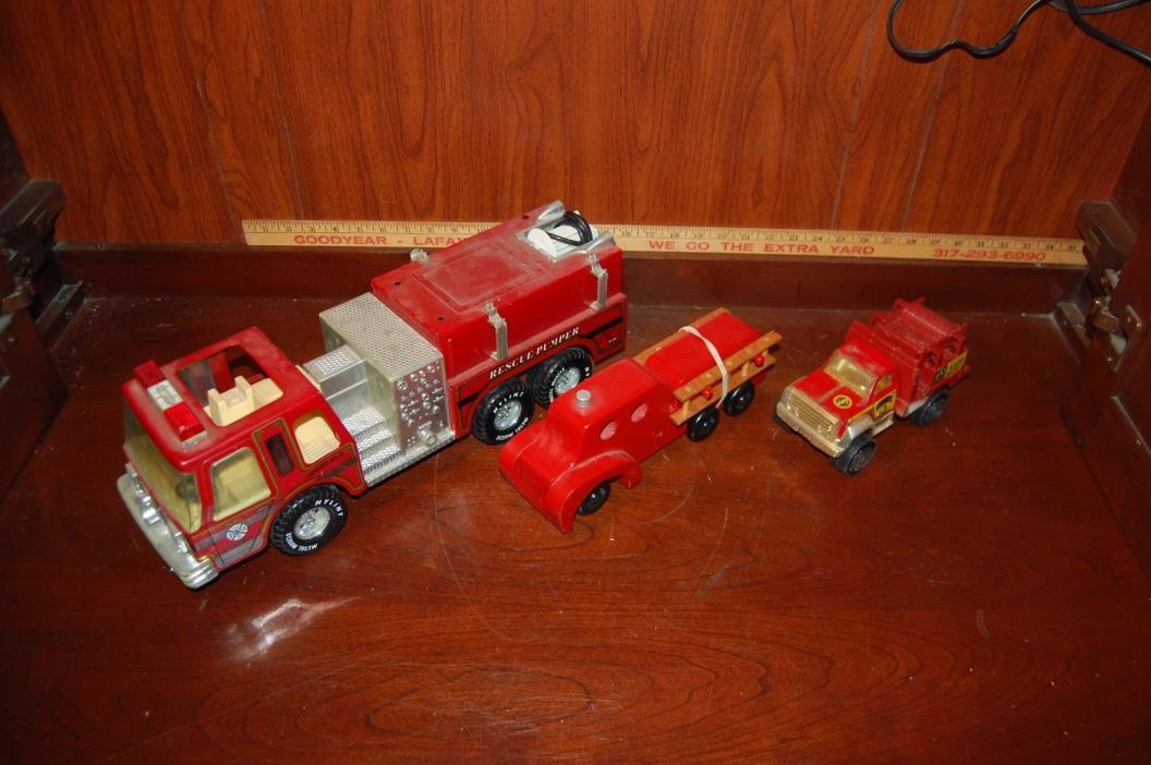 Fire Trucks Metal Nylint Rescue Pumper, Wooden Ladders Toy, Tonka Vehicle 3 pcs