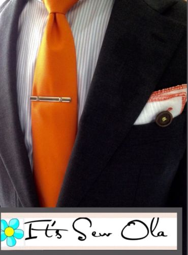 Men's Custom Made Orange Bordered Pocket Square With Button Detail ONE SIZE