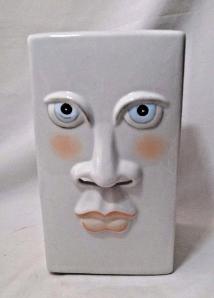 LARGE Moon Face Tissue Box Holder Ceramic Cover 3D Pottery Art Fitz Floyd