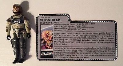 Vintage 1980s GI JOE SLIP-STREAM Conquest X-30 Pilot w/ Filecard