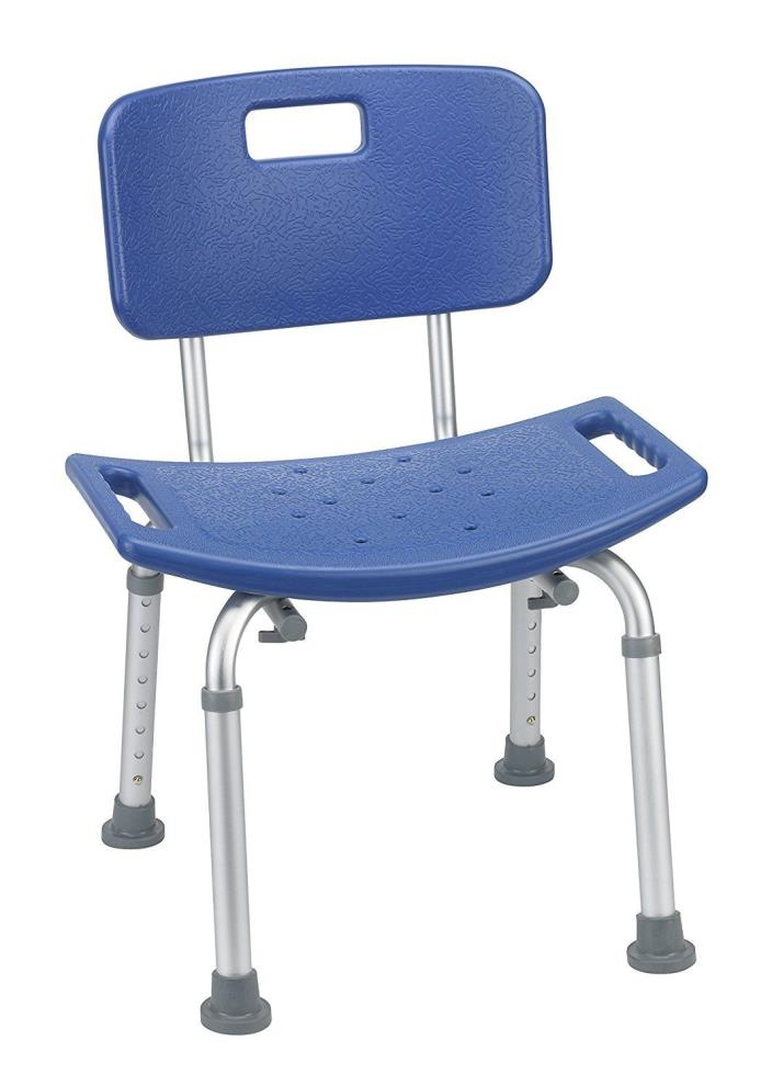 Bathroom Safety Shower Tub Bench Chair with Back, Blue