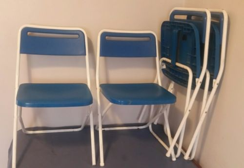 Vintage Cosco Folding Chairs Set of 4 Blue Plastic and Metal