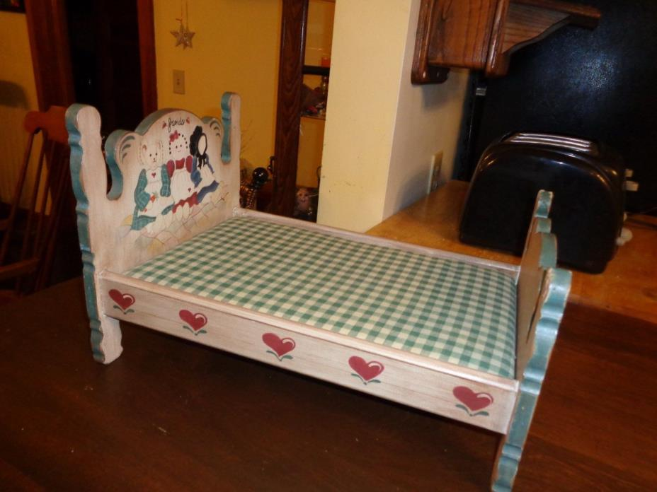 Wooden doll bed with mattress 9