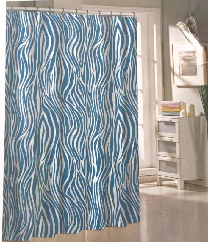Shower Fabric Curtain Zebra Print Turquoise Animal Stripe Bathroom Decor SPRING