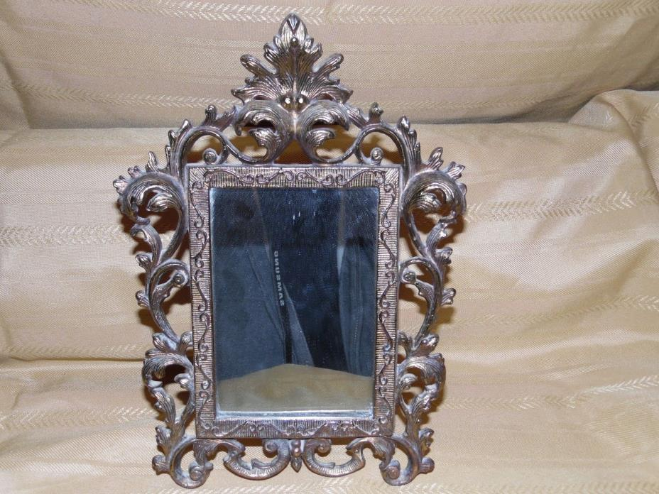 Vintage Heavy Brass Standing/Hanging Mirror