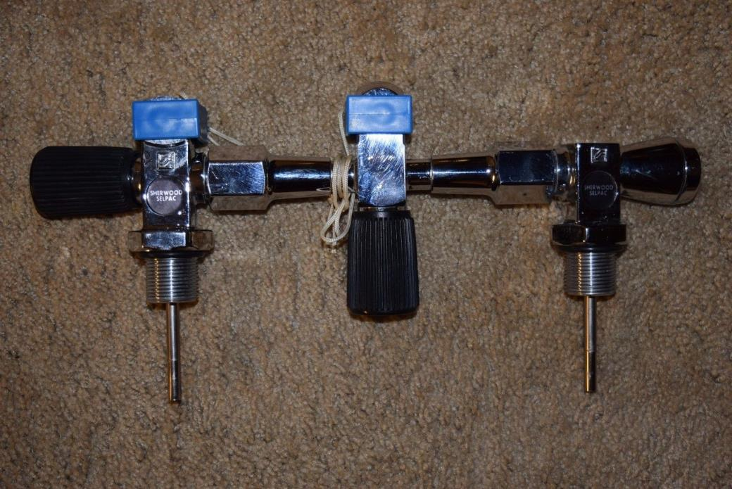 Sherwood 3000 PSI Selpac Double Manifold Tank Set With Valves Scuba Diving, USA