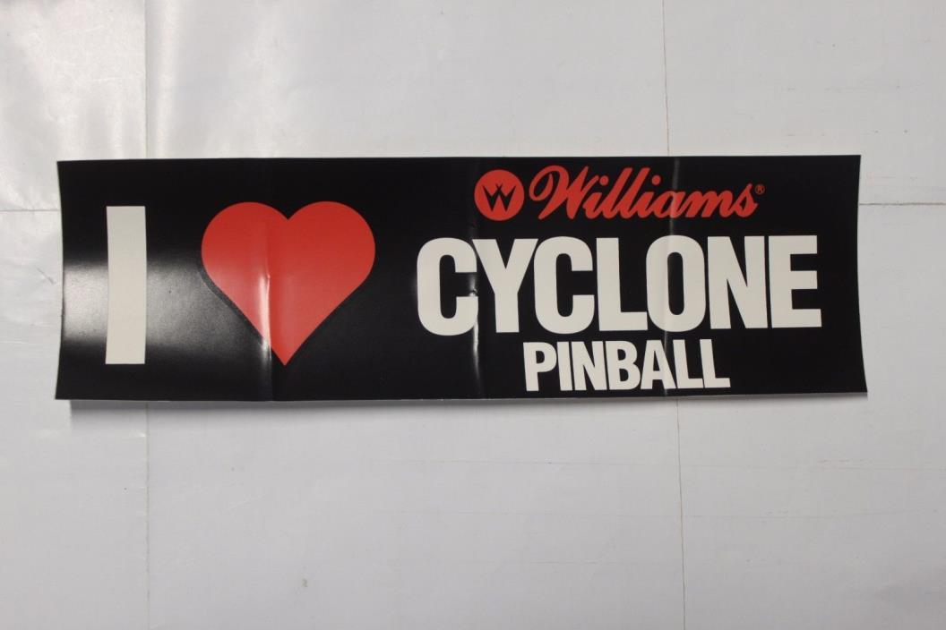 Williams I (heart Love) Cyclone Pinball Bumper Sticker NOS  RARE