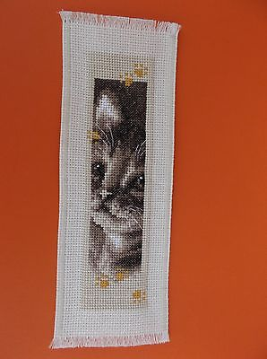 Completed Cross Stitch Bookmark - Kitten
