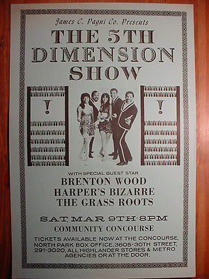 SCARCE 5th DIMENSION CONCERT POSTER San Diego '68 - Harpers Bizarre Grass Roots