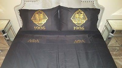 Queen size Alpha Phi Alpha  sheet set