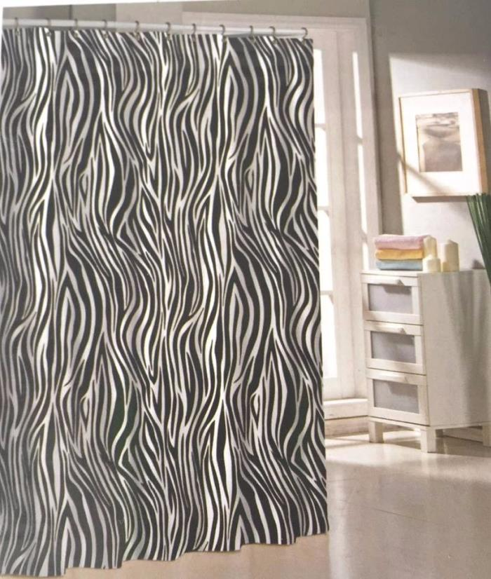 Black Fabric Shower Curtain Zebra Stripe Animal Print Bathroom Decor NEW!